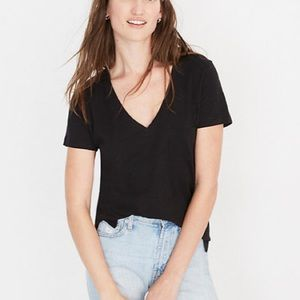 Madewell Whisper Cotton V Neck Tee Black